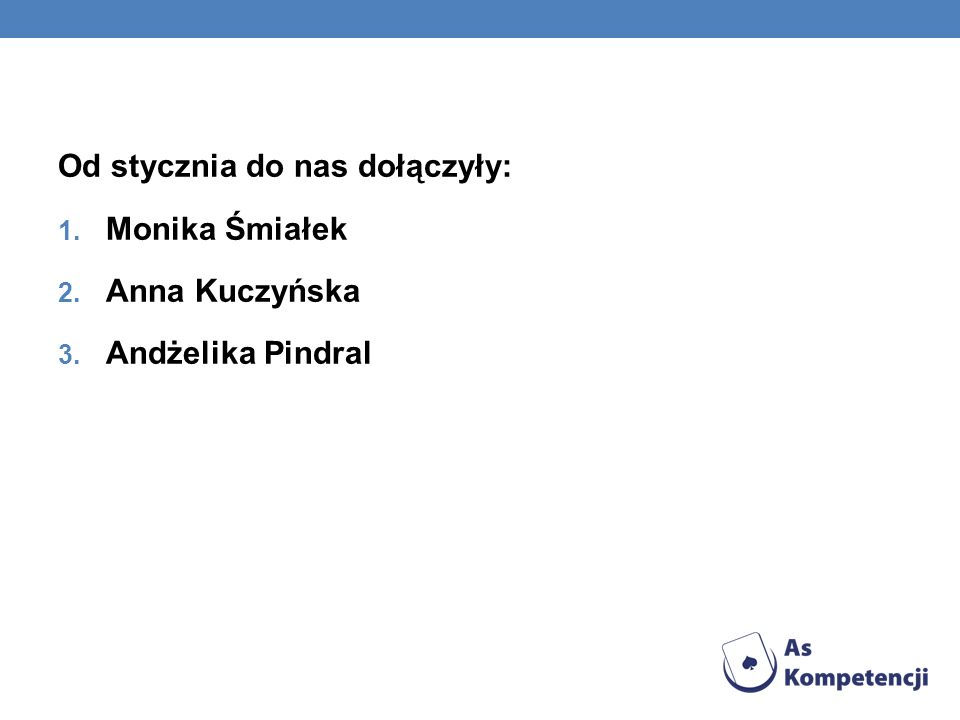 Od stycznia do nas dołączyły: 1. Monika Śmiałek 2. Anna Kuczyńska 3. Andżelika Pindral
