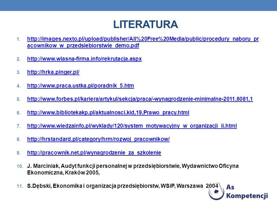LITERATURA 1. http://images.nexto.pl/upload/publisher/All%20Free%20Media/public/procedury_naboru_pr acownikow_w_przedsiebiorstwie_demo.pdf http://imag