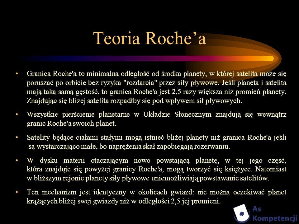 Teoria Rochea Granica Roche'a to minimalna odległość od środka planety, w której satelita może się poruszać po orbicie bez ryzyka