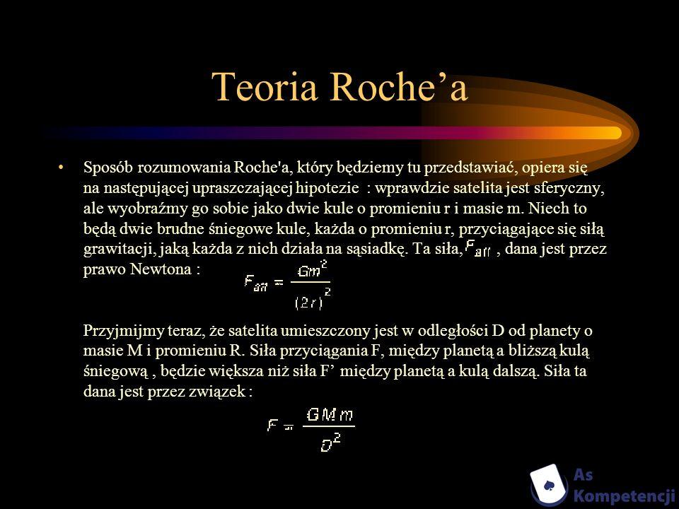 Teoria Rochea Sposób rozumowania Roche'a, który będziemy tu przedstawiać, opiera się na następującej upraszczającej hipotezie : wprawdzie satelita jes