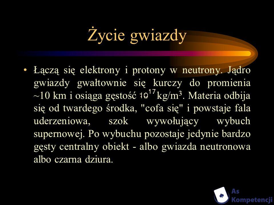 Życie gwiazdy Łączą się elektrony i protony w neutrony. Jądro gwiazdy gwałtownie się kurczy do promienia ~10 km i osiąga gęstość kg/m 3. Materia odbij