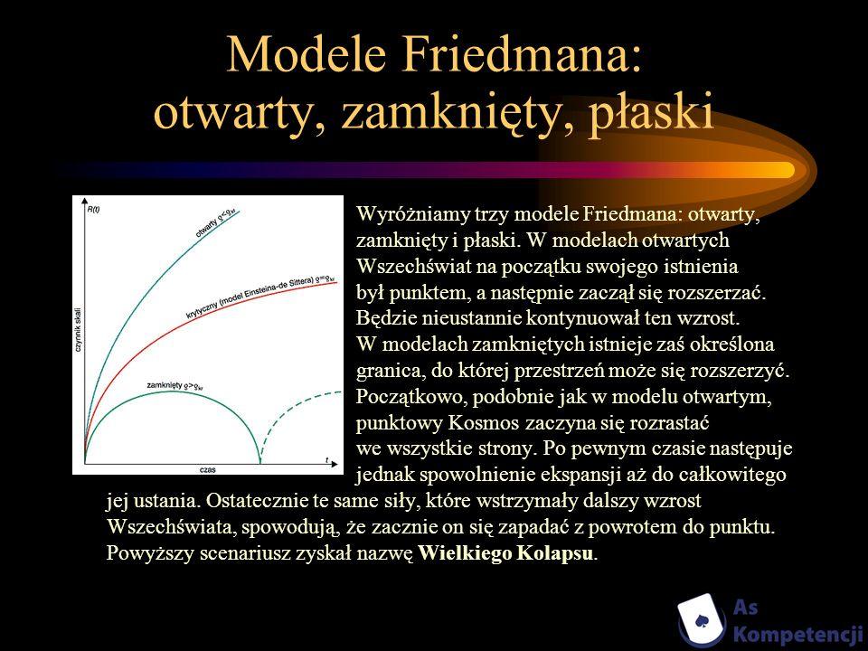 Modele Friedmana: otwarty, zamknięty, płaski Wyróżniamy trzy modele Friedmana: otwarty, zamknięty i płaski. W modelach otwartych Wszechświat na począt