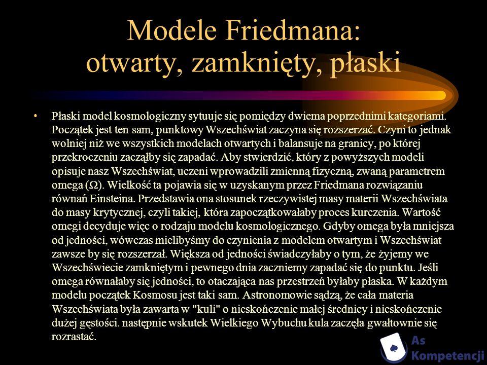 Modele Friedmana: otwarty, zamknięty, płaski Płaski model kosmologiczny sytuuje się pomiędzy dwiema poprzednimi kategoriami. Początek jest ten sam, pu