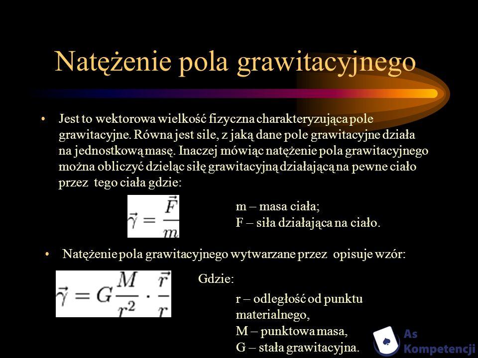 Natężenie pola grawitacyjnego Jest to wektorowa wielkość fizyczna charakteryzująca pole grawitacyjne. Równa jest sile, z jaką dane pole grawitacyjne d