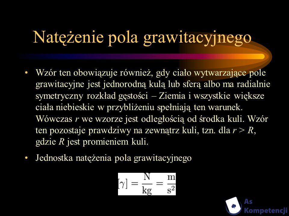 Natężenie pola grawitacyjnego Wzór ten obowiązuje również, gdy ciało wytwarzające pole grawitacyjne jest jednorodną kulą lub sferą albo ma radialnie s