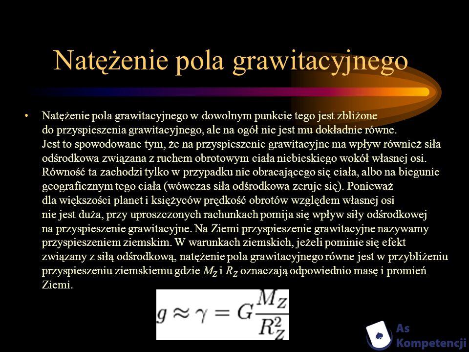 Natężenie pola grawitacyjnego Natężenie pola grawitacyjnego w dowolnym punkcie tego jest zbliżone do przyspieszenia grawitacyjnego, ale na ogół nie je
