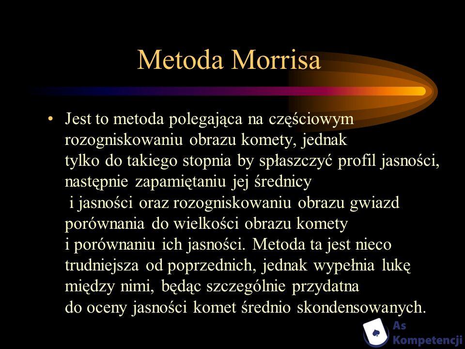 Metoda Morrisa Jest to metoda polegająca na częściowym rozogniskowaniu obrazu komety, jednak tylko do takiego stopnia by spłaszczyć profil jasności, n