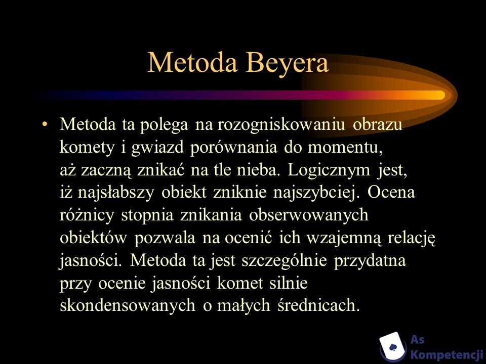 Metoda Beyera Metoda ta polega na rozogniskowaniu obrazu komety i gwiazd porównania do momentu, aż zaczną znikać na tle nieba. Logicznym jest, iż najs