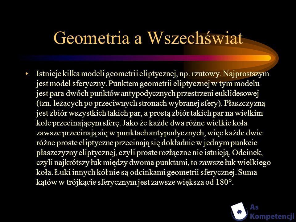 Geometria a Wszechświat Istnieje kilka modeli geometrii eliptycznej, np. rzutowy. Najprostszym jest model sferyczny. Punktem geometrii eliptycznej w t