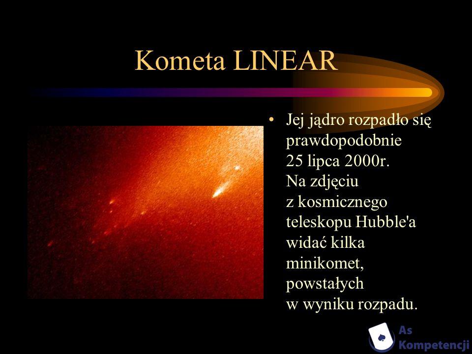 Kometa LINEAR Jej jądro rozpadło się prawdopodobnie 25 lipca 2000r. Na zdjęciu z kosmicznego teleskopu Hubble'a widać kilka minikomet, powstałych w wy