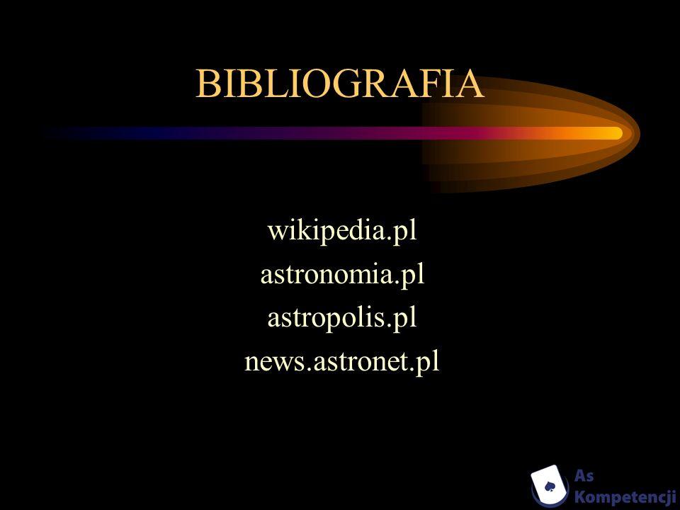 BIBLIOGRAFIA wikipedia.pl astronomia.pl astropolis.pl news.astronet.pl
