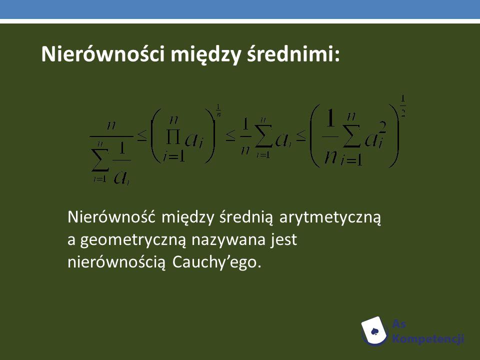 Nierówność między średnią arytmetyczną a geometryczną nazywana jest nierównością Cauchyego.
