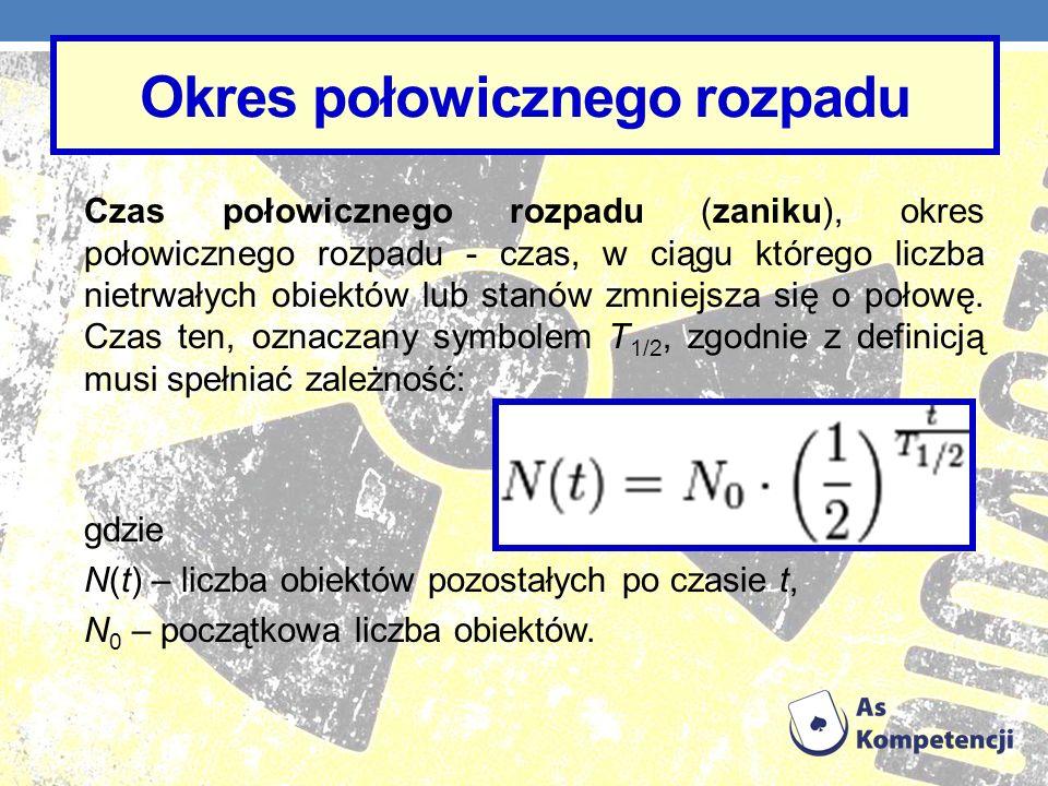 Okres połowicznego rozpadu Czas połowicznego rozpadu (zaniku), okres połowicznego rozpadu - czas, w ciągu którego liczba nietrwałych obiektów lub stan