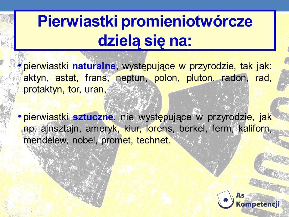 Pierwiastki promieniotwórcze dzielą się na: pierwiastki naturalne, występujące w przyrodzie, tak jak: aktyn, astat, frans, neptun, polon, pluton, rado