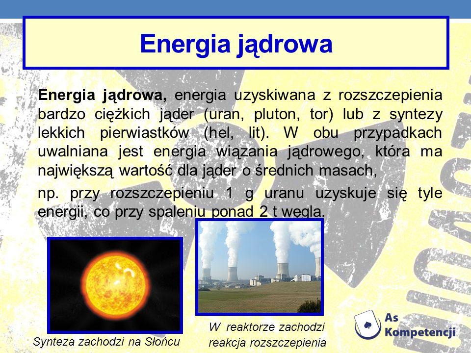 Energia jądrowa Energia jądrowa, energia uzyskiwana z rozszczepienia bardzo ciężkich jąder (uran, pluton, tor) lub z syntezy lekkich pierwiastków (hel