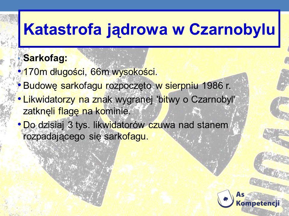 Sarkofag: 170m długości, 66m wysokości. Budowę sarkofagu rozpoczęto w sierpniu 1986 r. Likwidatorzy na znak wygranej 'bitwy o Czarnobyl' zatknęli flag