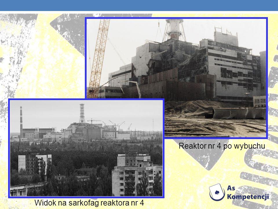 Widok na sarkofag reaktora nr 4 Reaktor nr 4 po wybuchu