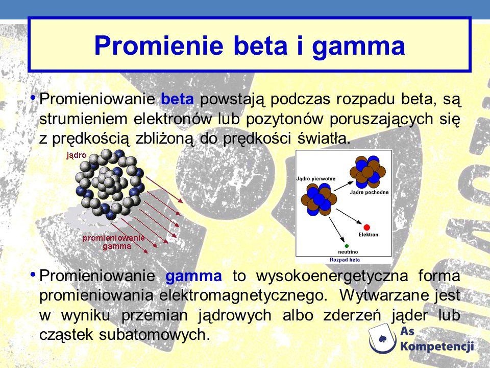 Promieniowanie beta powstają podczas rozpadu beta, są strumieniem elektronów lub pozytonów poruszających się z prędkością zbliżoną do prędkości światł