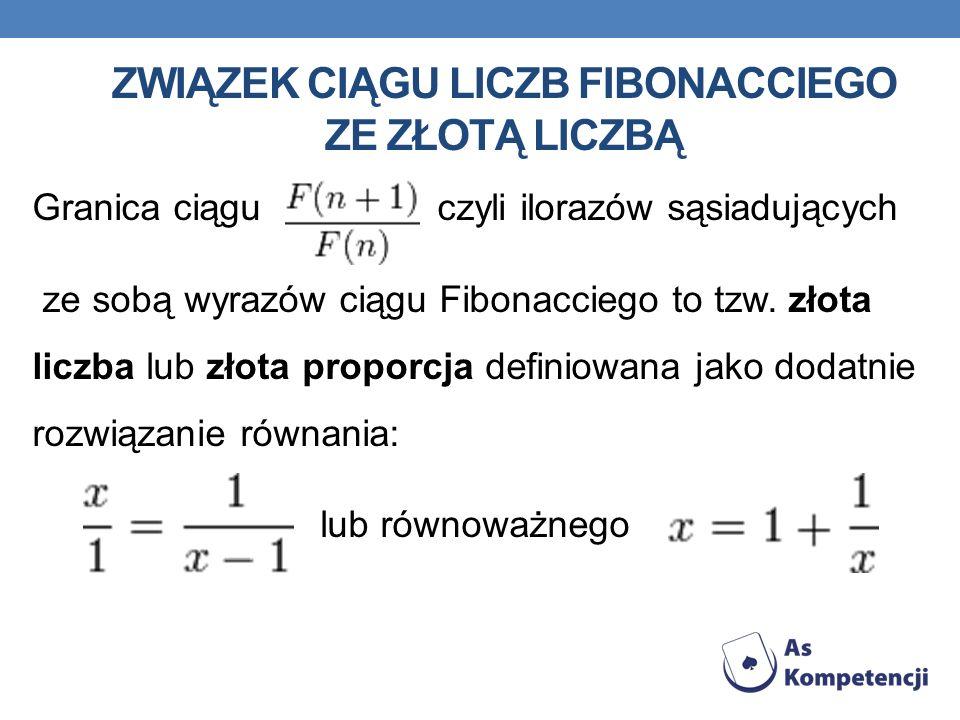 ZWIĄZEK CIĄGU LICZB FIBONACCIEGO ZE ZŁOTĄ LICZBĄ Granica ciągu czyli ilorazów sąsiadujących ze sobą wyrazów ciągu Fibonacciego to tzw. złota liczba lu
