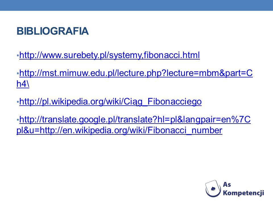 BIBLIOGRAFIA http://www.surebety.pl/systemy,fibonacci.html http://mst.mimuw.edu.pl/lecture.php?lecture=mbm&part=C h4\ http://mst.mimuw.edu.pl/lecture.