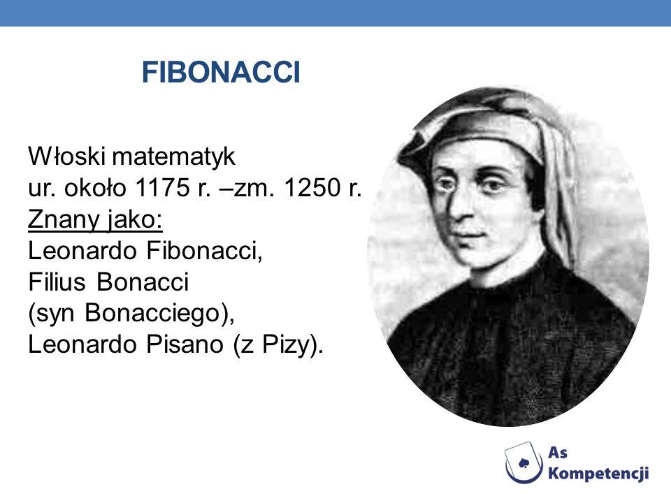 FIBONACCI Włoski matematyk ur. około 1175 r. –zm. 1250 r. Znany jako: Leonardo Fibonacci, Filius Bonacci (syn Bonacciego), Leonardo Pisano (z Pizy).