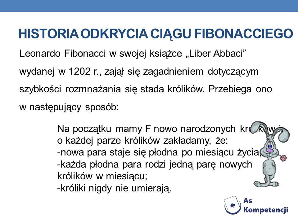 HISTORIA ODKRYCIA CIĄGU FIBONACCIEGO Leonardo Fibonacci w swojej książce Liber Abbaci wydanej w 1202 r., zajął się zagadnieniem dotyczącym szybkości r