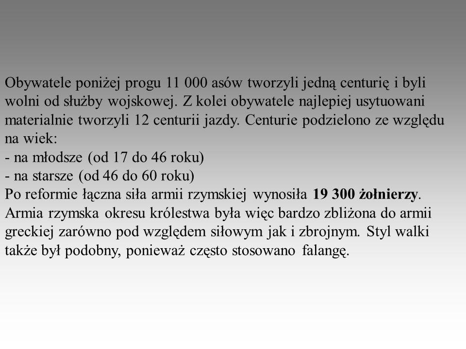 Obywatele poniżej progu 11 000 asów tworzyli jedną centurię i byli wolni od służby wojskowej. Z kolei obywatele najlepiej usytuowani materialnie tworz