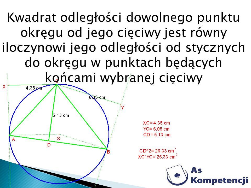 Kwadrat odległości dowolnego punktu okręgu od jego cięciwy jest równy iloczynowi jego odległości od stycznych do okręgu w punktach będących końcami wy