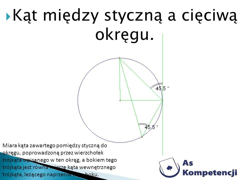 Kąt między styczną a cięciwą okręgu. Miara kąta zawartego pomiędzy styczną do okręgu, poprowadzoną przez wierzchołek trójkąta wpisanego w ten okrąg, a