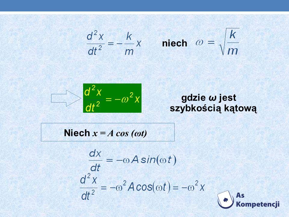 Niech x = A cos (ωt) niech gdzie ω jest szybkością kątową