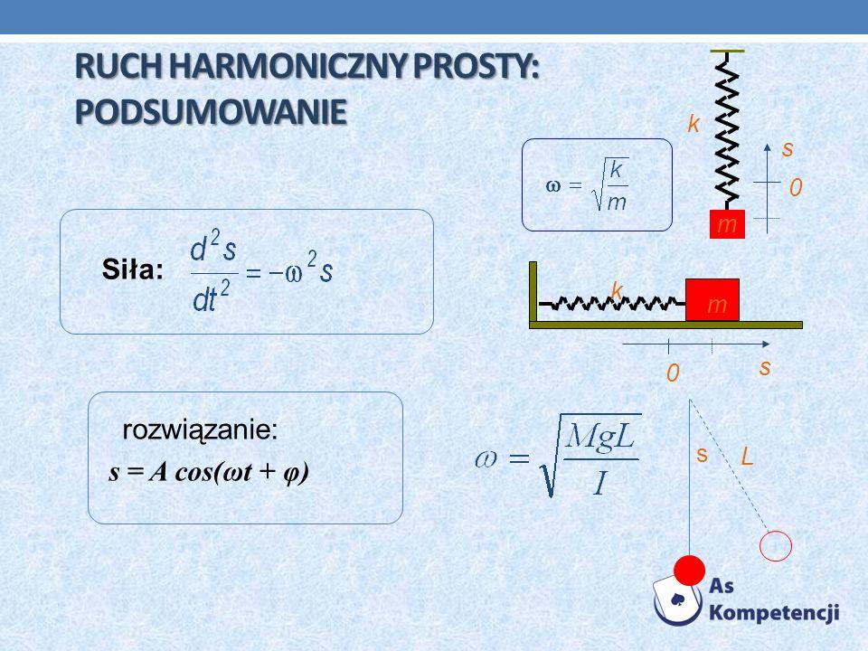 RUCH HARMONICZNY PROSTY: PODSUMOWANIE rozwiązanie: s = A cos(ωt + φ) Siła: k s m 0 k m s 0 s L