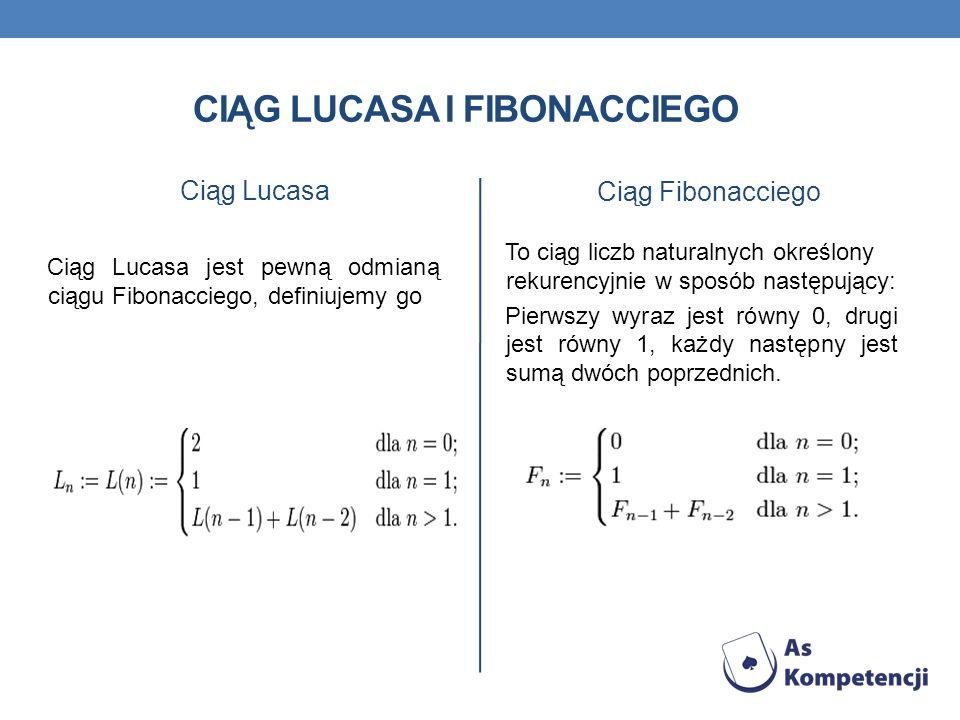 CIĄG LUCASA I FIBONACCIEGO Ciąg Lucasa Ciąg Lucasa jest pewną odmianą ciągu Fibonacciego, definiujemy go Ciąg Fibonacciego To ciąg liczb naturalnych o
