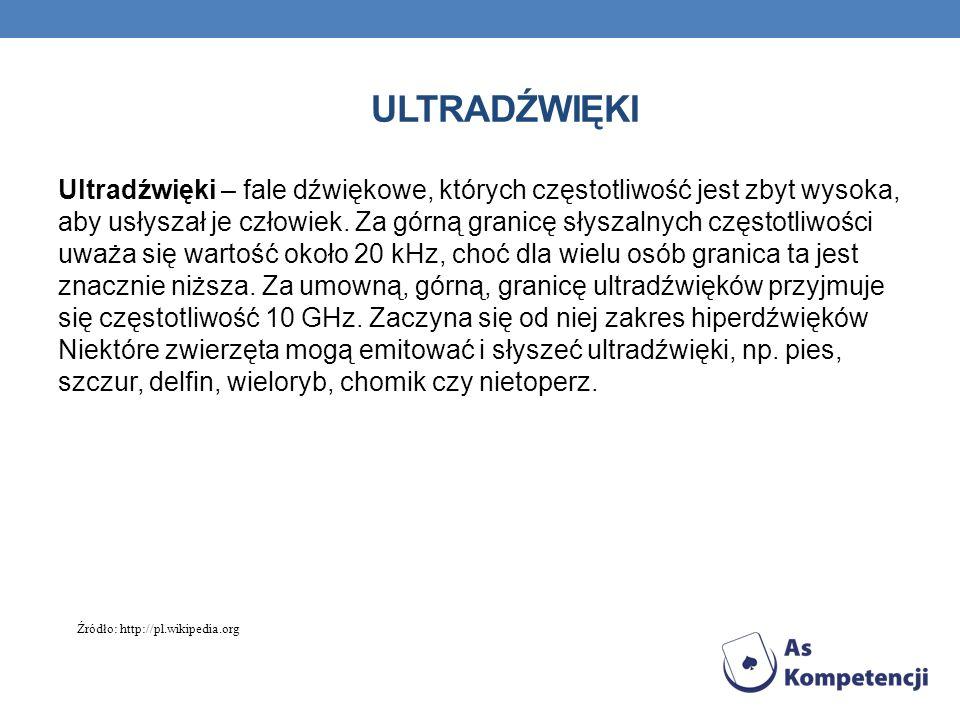 ULTRADŹWIĘKI Zastosowania ultradźwięków: Ultradźwięki dzięki małej długości fali pozwalają na uzyskanie dokładnych obrazów przedmiotów.