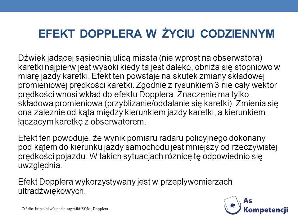EFEKT DOPPLERA W ŻYCIU CODZIENNYM Zmiana częstotliwości sygnału karetki wywołana efektem Dopplera 1.