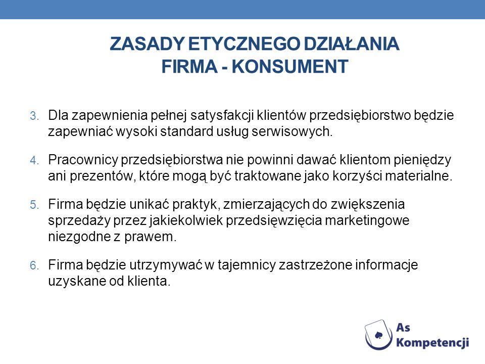 ZASADY ETYCZNEGO DZIAŁANIA FIRMA - KONSUMENT 3. Dla zapewnienia pełnej satysfakcji klientów przedsiębiorstwo będzie zapewniać wysoki standard usług se