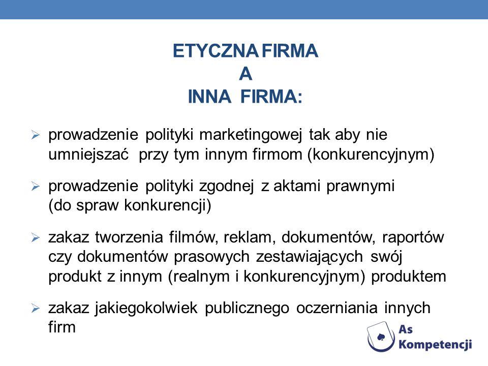 ETYCZNA FIRMA A INNA FIRMA: prowadzenie polityki marketingowej tak aby nie umniejszać przy tym innym firmom (konkurencyjnym) prowadzenie polityki zgod