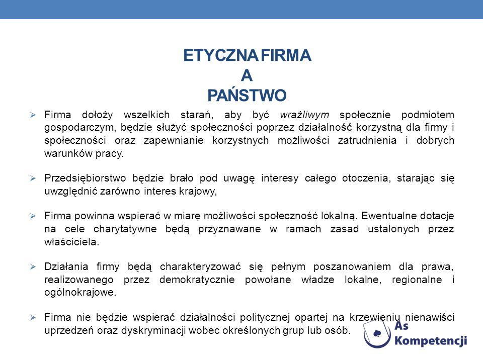 ETYCZNA FIRMA A PAŃSTWO Firma dołoży wszelkich starań, aby być wrażliwym społecznie podmiotem gospodarczym, będzie służyć społeczności poprzez działal