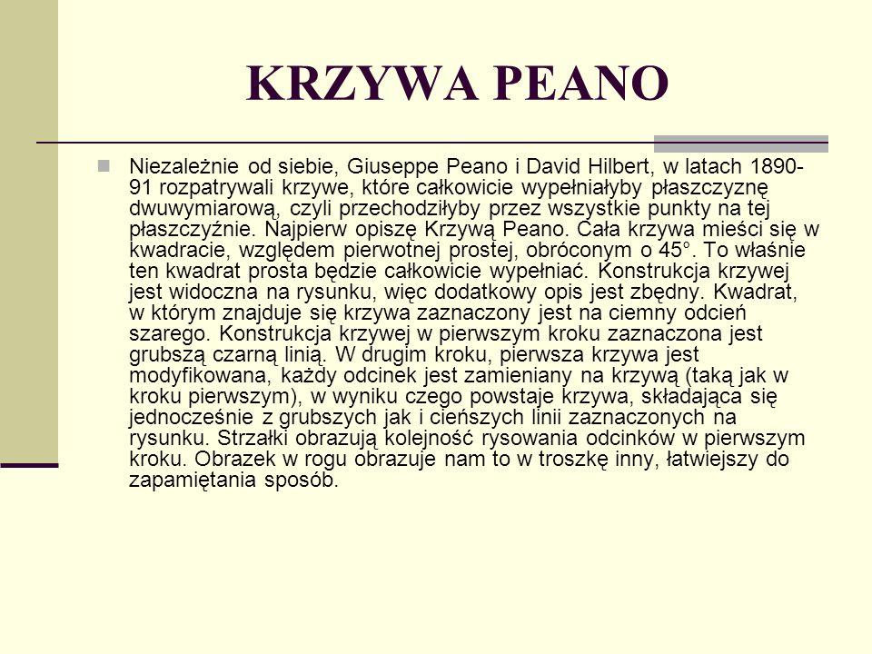 KRZYWA PEANO Niezależnie od siebie, Giuseppe Peano i David Hilbert, w latach 1890- 91 rozpatrywali krzywe, które całkowicie wypełniałyby płaszczyznę d