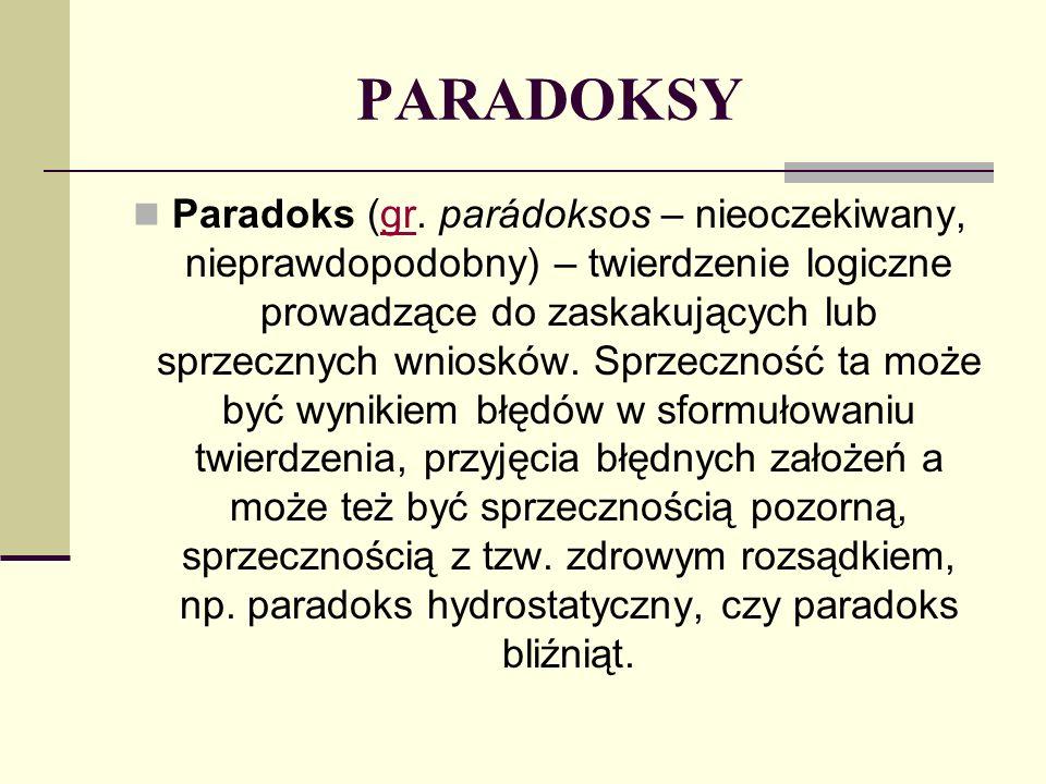 PARADOKSY Paradoks (gr. parádoksos – nieoczekiwany, nieprawdopodobny) – twierdzenie logiczne prowadzące do zaskakujących lub sprzecznych wniosków. Spr