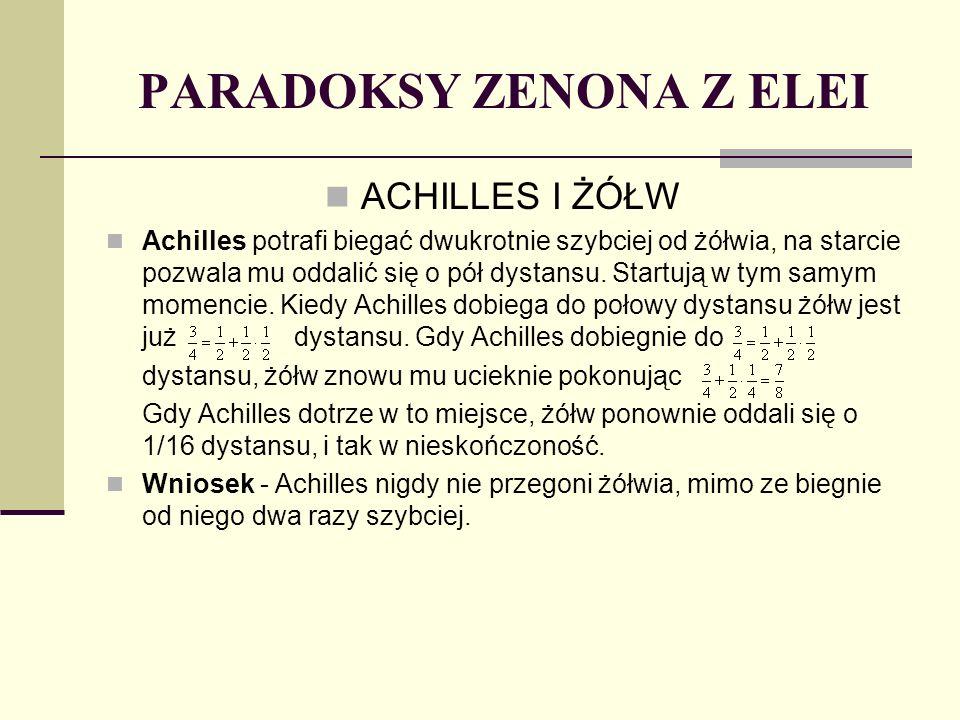 PARADOKSY ZENONA Z ELEI ACHILLES I ŻÓŁW Achilles potrafi biegać dwukrotnie szybciej od żółwia, na starcie pozwala mu oddalić się o pół dystansu. Start