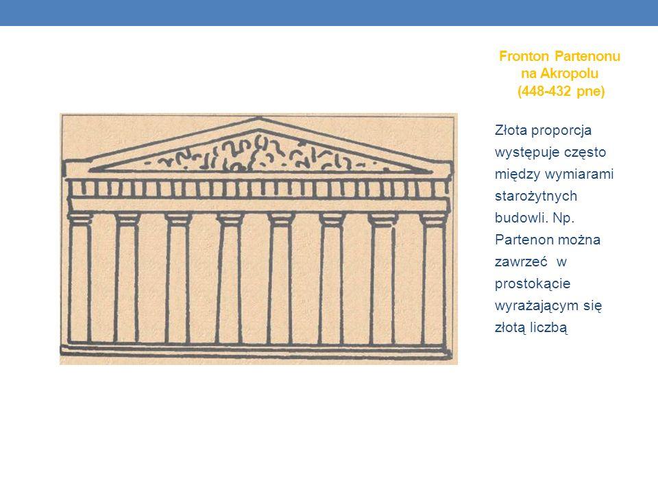 Złota proporcja występuje często między wymiarami starożytnych budowli. Np. Partenon można zawrzeć w prostokącie wyrażającym się złotą liczbą Fronton