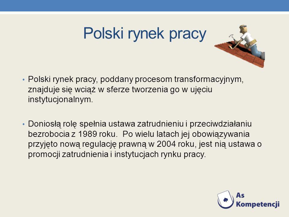 Polski rynek pracy Polski rynek pracy, poddany procesom transformacyjnym, znajduje się wciąż w sferze tworzenia go w ujęciu instytucjonalnym. Doniosłą