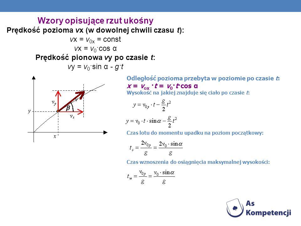 Wzory opisujące rzut ukośny Prędkość pozioma vx (w dowolnej chwili czasu t): vx = v 0x = const vx = v 0 ·cos α Prędkość pionowa vy po czasie t: vy = v