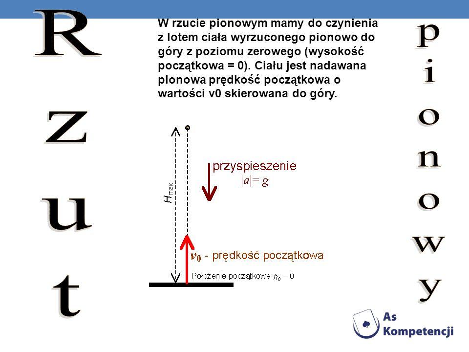 W rzucie pionowym mamy do czynienia z lotem ciała wyrzuconego pionowo do góry z poziomu zerowego (wysokość początkowa = 0). Ciału jest nadawana pionow
