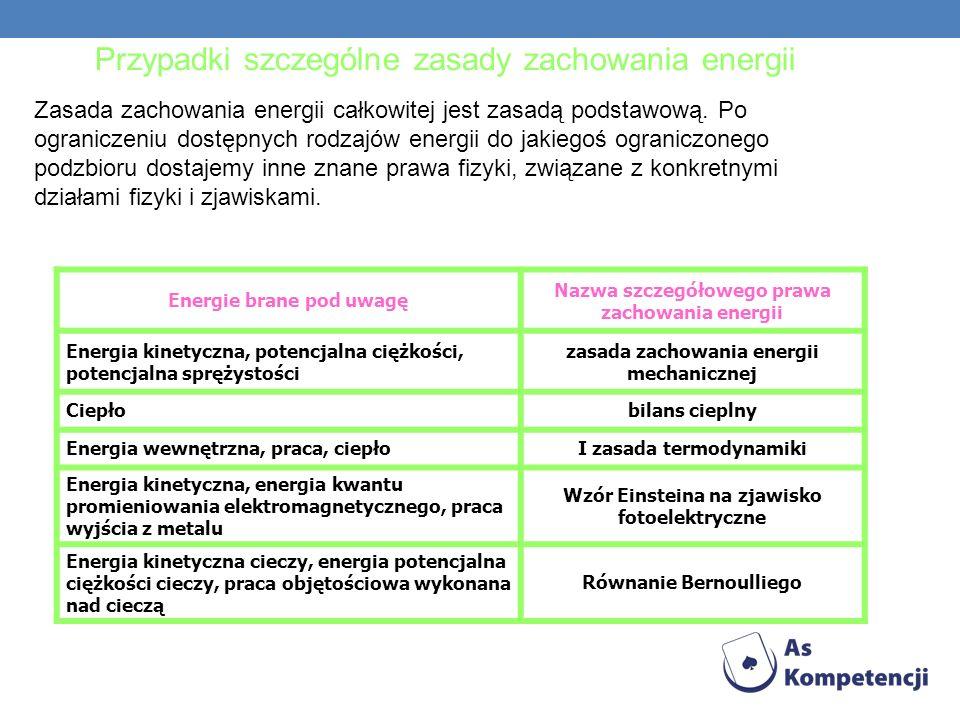 Przypadki szczególne zasady zachowania energii Zasada zachowania energii całkowitej jest zasadą podstawową. Po ograniczeniu dostępnych rodzajów energi
