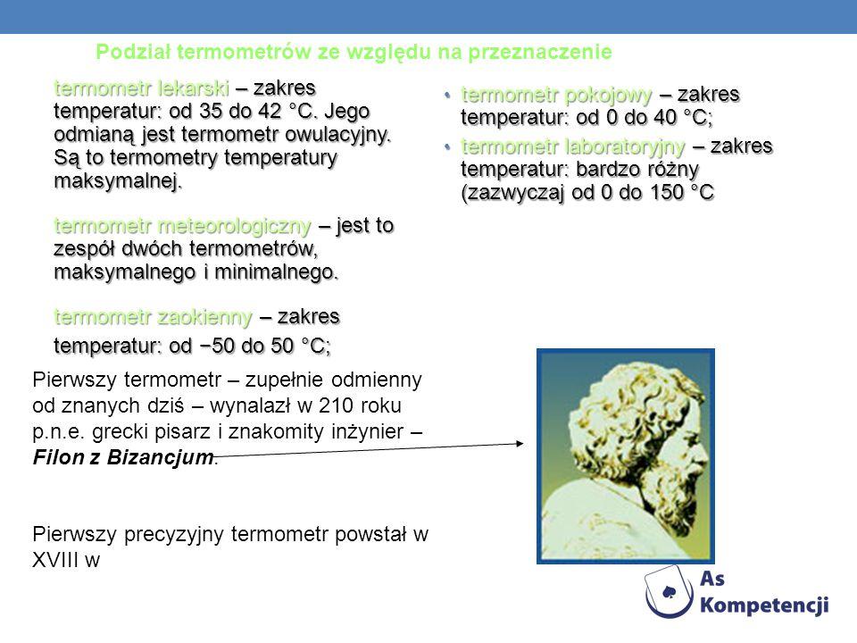 Podział termometrów ze względu na przeznaczenie termometr lekarski – zakres temperatur: od 35 do 42 °C. Jego odmianą jest termometr owulacyjny. Są to