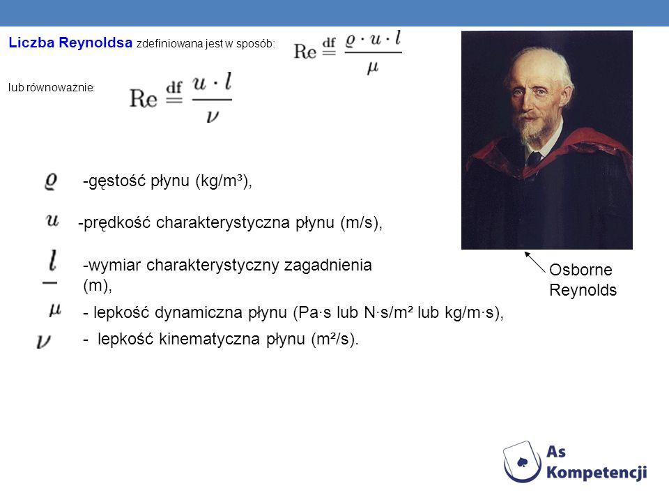 Liczba Reynoldsa zdefiniowana jest w sposób: lub równoważnie : -gęstość płynu (kg/m³), -prędkość charakterystyczna płynu (m/s), -wymiar charakterystyc