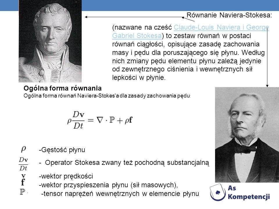 Równanie Naviera-Stokesa: (nazwane na cześć Claude-Louis Naviera i George Gabriel Stokesa) to zestaw równań w postaci równań ciągłości, opisujące zasa