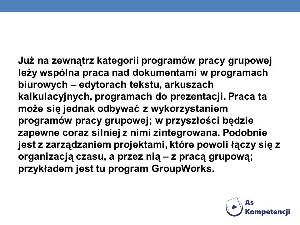 Już na zewnątrz kategorii programów pracy grupowej leży wspólna praca nad dokumentami w programach biurowych – edytorach tekstu, arkuszach kalkulacyjnych, programach do prezentacji.