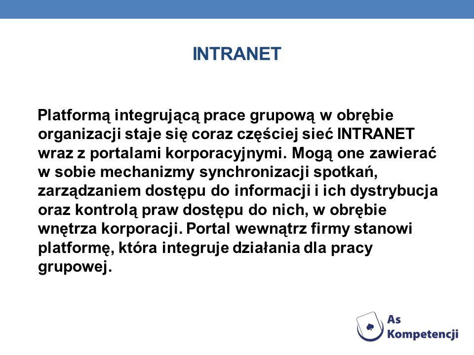 INTRANET Platformą integrującą prace grupową w obrębie organizacji staje się coraz częściej sieć INTRANET wraz z portalami korporacyjnymi.